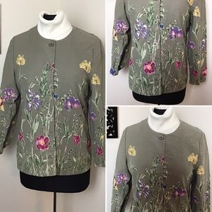 Appleseed's-Floral Print, Collarless Jacket